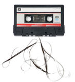 Audio Cassette with Tape Coming Out Stock Image