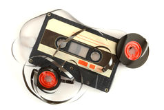 Audio cassette and tape composition. High resolution color image Stock Photos