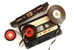 Audio cassette and tape composition Stock Photos