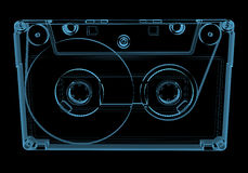 Audio cassette tape (3D xray blue transparent) Royalty Free Stock Photo