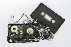 Audio cassette tape dismantling parts on white background Royalty Free Stock Images