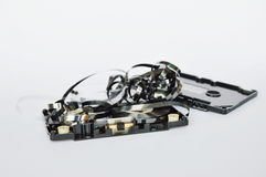 Audio cassette tape dismantling parts on white background Stock Image