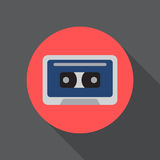 Audio cassette tape flat icon. Round colorful button, circular vector sign, logo illustration. Stock Image