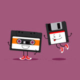 Audio cassette tape and floppy disc. Funny cartoon illustration about retro gadgets from eighties and nineties.  Vector Illustration