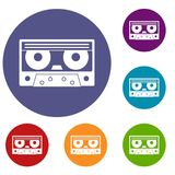 Audio cassette tape icons set. In flat circle red, blue and green color for web vector illustration