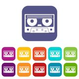 Audio cassette tape icons set flat. Audio cassette tape icons set vector illustration in flat style In colors red, blue, green and other vector illustration