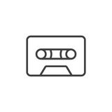 Audio cassette tape line icon, outline vector sign, linear style pictogram isolated on white. Symbol, logo illustration. Editable stroke Royalty Free Stock Images
