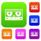 Audio cassette tape set color collection. Audio cassette tape set icon color in flat style isolated on white. Collection sings vector illustration vector illustration
