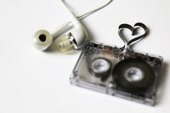 Audio cassette tape shape heart Royalty Free Stock Images