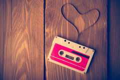 Audio cassette tape in the shape of heart. Stock Photography