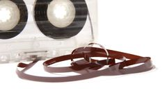 Audio cassette with tape tangle Stock Photos