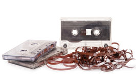 Audio cassette with tape tangle Royalty Free Stock Image