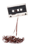 Audio cassette with tape tangle Royalty Free Stock Images