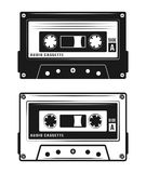 Audio cassette tape two style vector illustration. Audio cassette tape two style black vector illustration isolated on white background Royalty Free Stock Photo