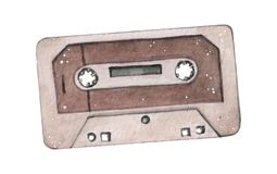 Audio cassette tape watercolor illustration isolated on wahite backgraound. Vinatge retro music stock image
