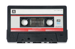 Audio Cassette Tape on White. Classic, retro audio cassette tape on white background stock photos
