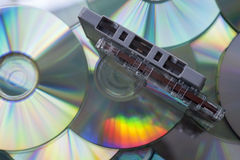 Audio cassette tapes and CD discs Stock Image