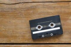 Audio cassette on wood Stock Photo