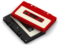 Audio cassettes. Black and red audio cassettes lying on white surface. . 3D Illustration stock illustration