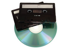 Audio cassettes with CD disk Stock Photos