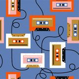 Audio cassettes, colorful musical seamless pattern. Decorative background stock illustration