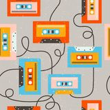 Audio cassettes, colorful seamless pattern stock illustration