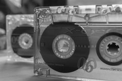 Audio cassettes. Old audio cassettes in black&white colors Royalty Free Stock Photo