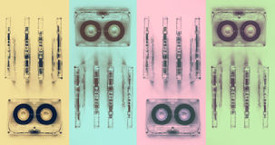 Audio cassettes for recorder. 80s 90s 70s retro vintage old music time generation music tape wallpaper background style nostalgia song cover stock image