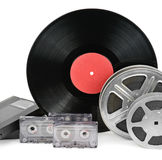 Audio cassettes, records and film strip Stock Images