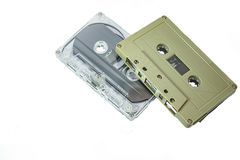 Audio cassettes - retro style. Old Grungy cassette tape isolated over a white background royalty free stock photos