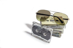 Audio cassettes - retro style. Old Grungy cassette tape isolated over a white background stock image