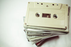 Audio cassettes - retro style. Old Grungy cassette tape over a white background royalty free stock images