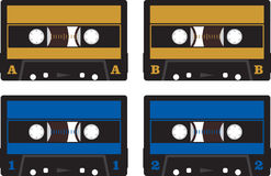 Audio cassettes - tapes. Retro audio blue and brown cassettes (tapes Royalty Free Stock Photography