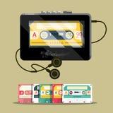 Audio Cassettess with Walkman. Retro Music Player Vector Design stock illustration
