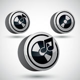 Audio cd icon, 3d vector music design element. Royalty Free Stock Images