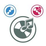 Audio cd ikona, przerzedże koloru tematu wektorowego muzycznego symbol dla twój d Zdjęcie Royalty Free