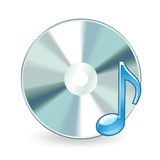 Audio cd isolated. Illustration as icon of music disc on blank with note Stock Photography