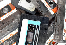 Audio compact cassettes, background Royalty Free Stock Photos