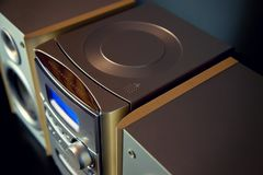 Audio Compact Component Mini Stereo System. б Top diagonal view stock photo