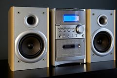 Audio Compact Component Mini Stereo System. Frontal diagonal view closeup stock photography