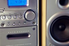 Audio Compact Component Mini Stereo System. Frontal view closeup royalty free stock photos