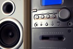 Audio Compact Component Mini Stereo System. Frontal view closeup royalty free stock image