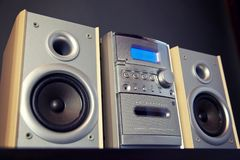Audio Compact Component Mini Stereo System. Frontal view dramatic closeup stock photos