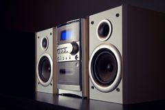Audio Compact Component Mini Stereo System. Side view royalty free stock photography
