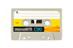 Audio compacte die cassete van MAXELL op witte achtergrond wordt geïsoleerd Royalty-vrije Stock Afbeeldingen