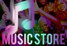 Audio concetto del grafico dell'icona della nota di musica del deposito Immagine Stock Libera da Diritti