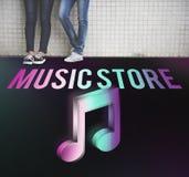 Audio concetto del grafico dell'icona della nota di musica del deposito Fotografia Stock