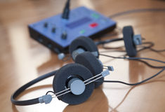 Audio conference headphones Royalty Free Stock Images