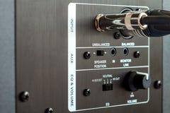 Audio connection control panel. Stock Photos