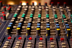 Audio console. Control panel on the audio mixer with knob and slide potentiometers,photography royalty free stock photos